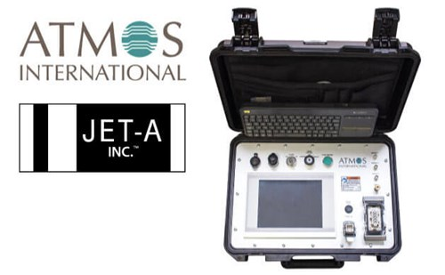Jet A sign up with Atmos - photo showing logos and Atmos Portable Tightness Monitor