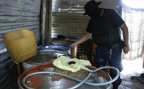Mexican pipelines looted by cartels. Photo of police raid courtesy of Business Insider