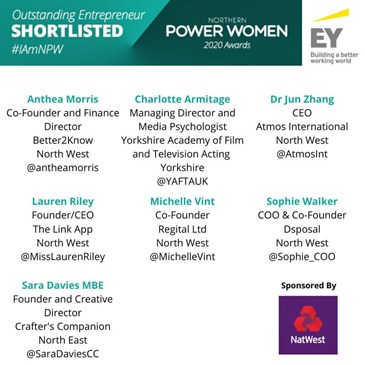 image of Northern Power Women Awards outstanding entrepreneur shortlist featuring Jun Zhang CEO of Atmos International