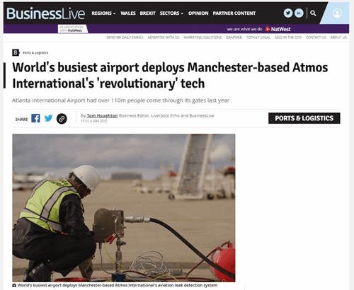 Shot of Business Live webpage covering the Atmos International video case study of the Atmos Portable Tightness Monitor at Hartsfield-Jackson Atlanta International Airport in Georgia, United States of America.