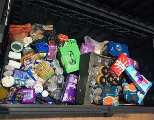 Image of items donated to Chorlton and Didsbury Foodbank by Atmos International